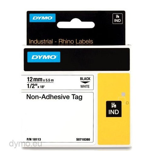 RHINO 18113 Non Adhesive Tag Black On White 12mm Samir Aly Stationery Houses Co