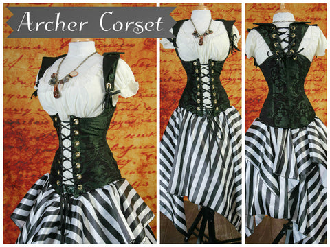 Green and Black Medallion Archer Corset