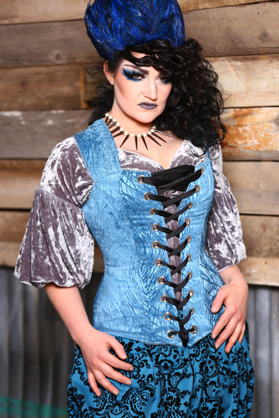 Aurora X Corset in Blue Tendrils