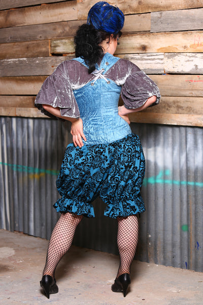 Bloomers-Above Knee in Peacock Flocked Damask