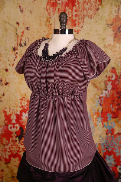 Emma Blouse Burgundy Wine Stripe - RA1