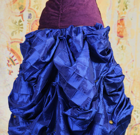 Blue Pintuck Knee-length Bustle Skirt
