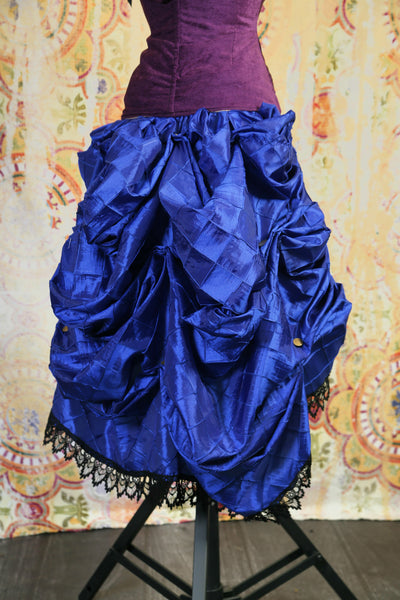 Blue Pintuck Knee-length Bustle Skirt w/ Trim