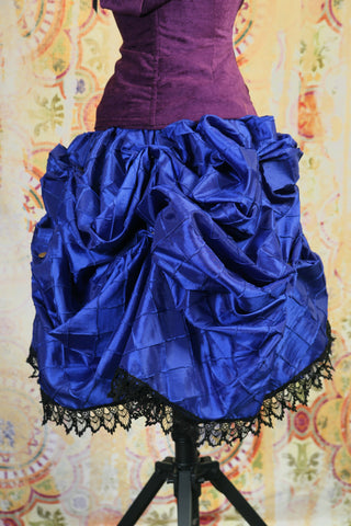 Blue Pintuck Mini-length Bustle Skirt w/ Trim