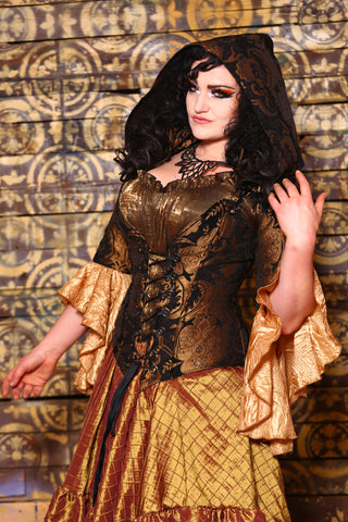 Courtier Corset in Black and Gold Medallion