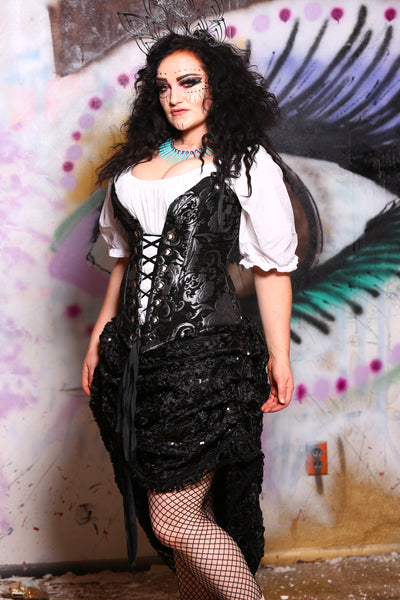 Courtier Corset in Black and Silver Medallion
