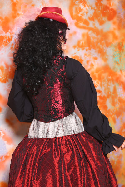 Cropped Marie Bodice in Crimson and Black Medallion