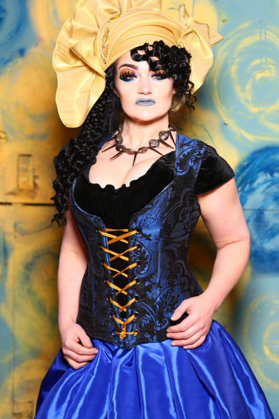 Damsel Corset in Blue and Black Medallion