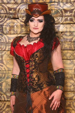 Damsel Corset in Black and Gold Medallion