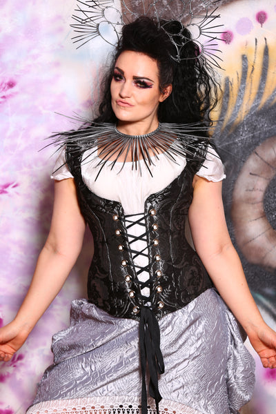 Damsel Corset in Black and Silver Medallion