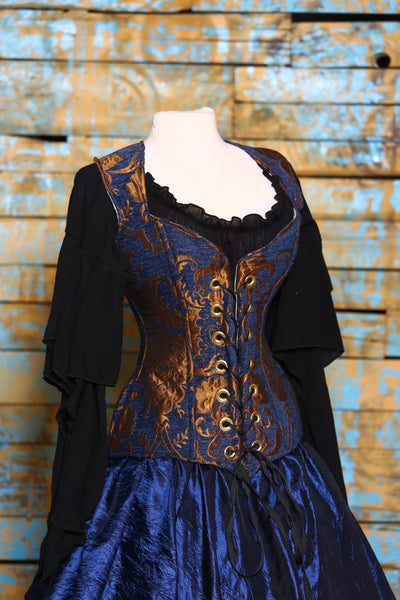 Damsel Corset in Blue & Gold Medallion
