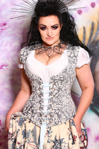 Damsel Corset in Foggy Mist Damask