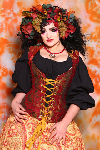 Damsel Corset in Red and Gold Medallion