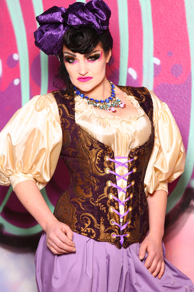 Damsel Corset in Purple and Gold Medallion