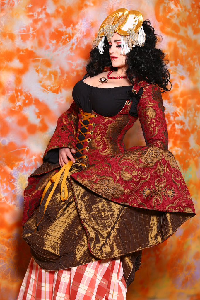 Detachable Arwen Sleeves in Red and Gold Medallion