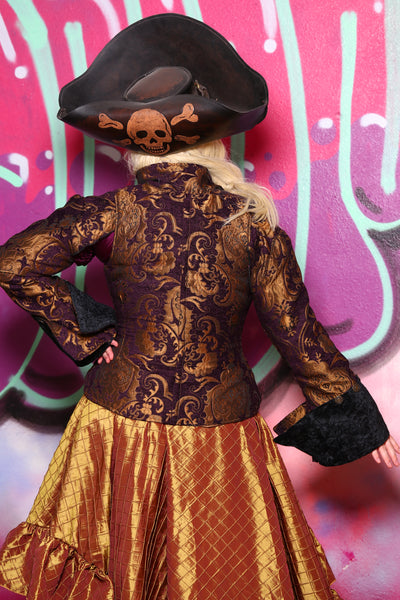 Detachable Buccaneer Sleeves in Purple and Gold Medallion