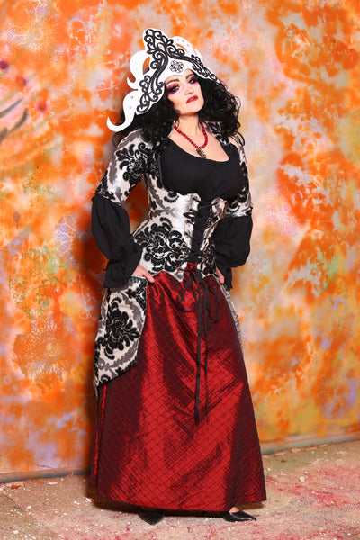 Detachable Elbow Length Sleeves in Yin Yang Damask
