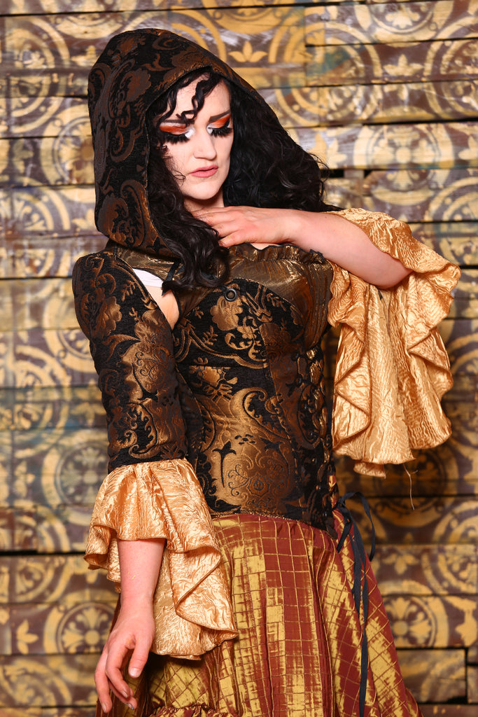 Detachable Flounce Sleeves in Black and Gold Medallion