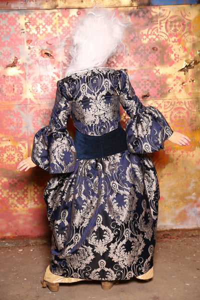 Detachable Flounce Sleeves in Colonial Blue Damask