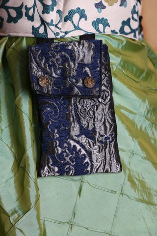 Single set of Utility Pockets in Blue and Silver Medallion
