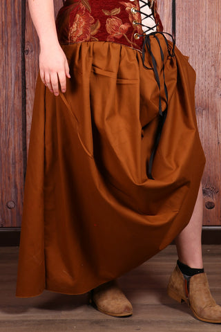 Drawstring Skirt in Biscoff Cookie Light Weight Canvas