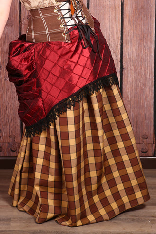 Drawstring Skirt in Cinnamon Roll Checker