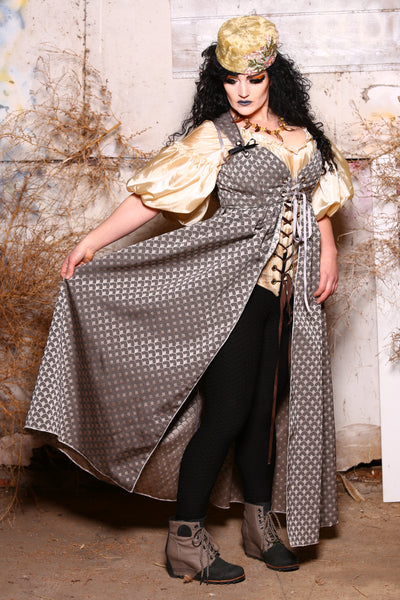 Tie-On Empire Overskirt in Pewter Scales