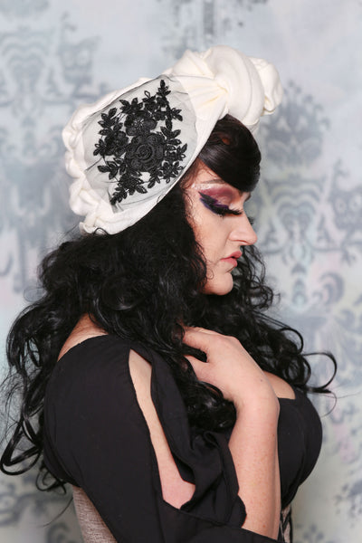 Floral Headwrap in White Fleece in Black Lace