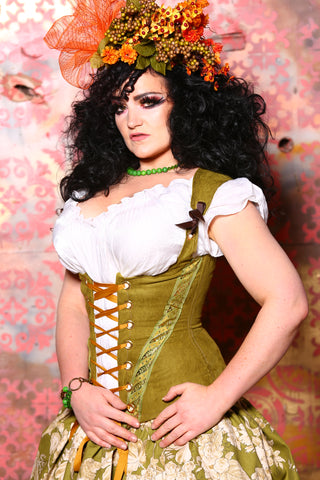 Greta Corset in Avocado Suede with Ribbon Trim