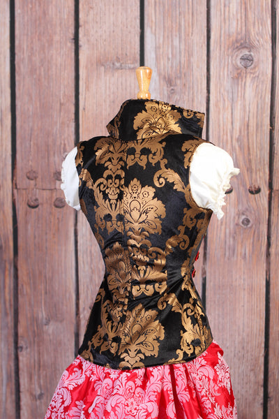 Black and Gold Damask with Steampunk Trim Vixen Corset