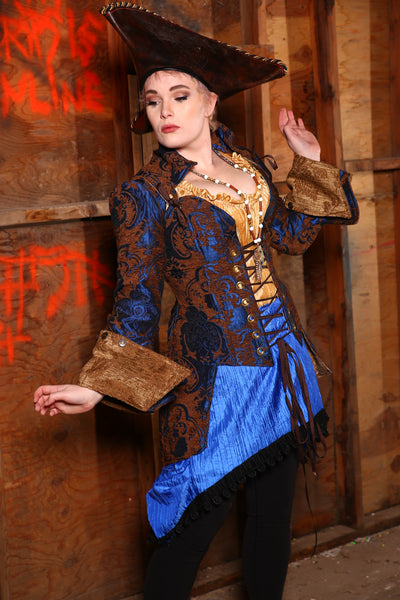 Cerulean & Penny Medallion Overbust Pirate Courtier with Knee Length Tails