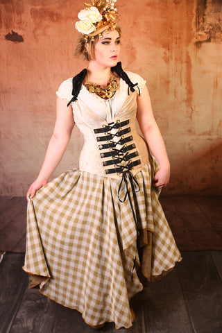 Gingham Gold and Textured Sconce Layered Crescent Skirt - RF2