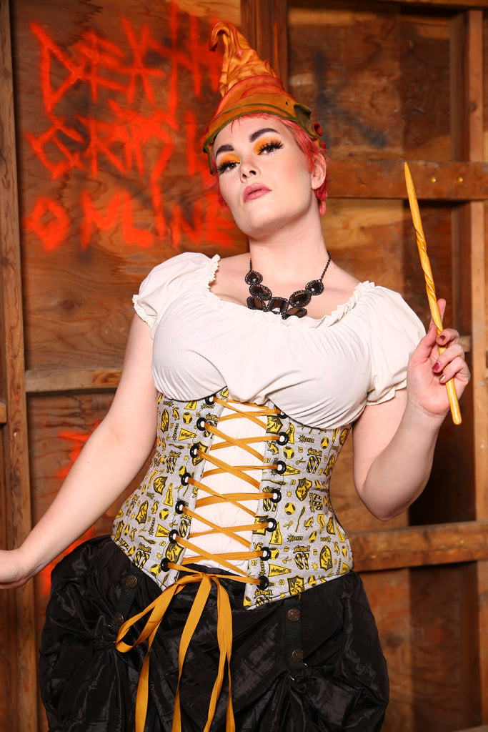 Wench Corset in Team Hufflepuff
