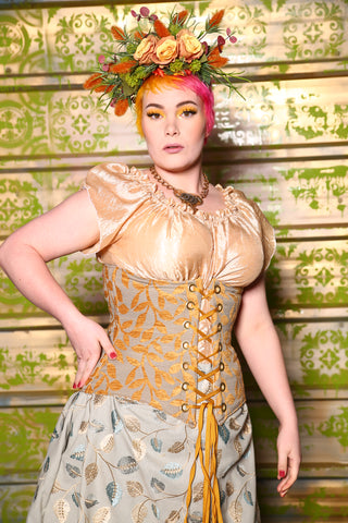 Normally $109! Wench Corset in Marigold Vine