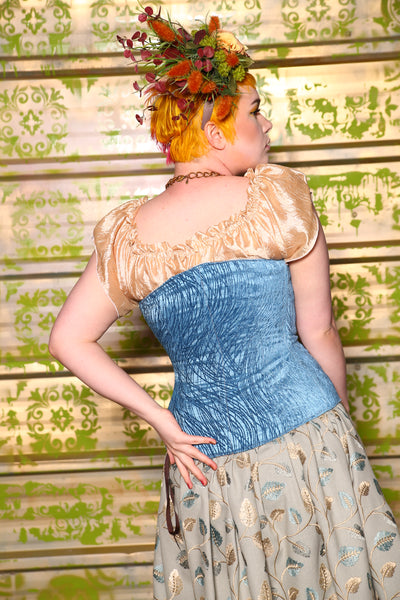 Aurora Corset in Princess Blue Tendrils