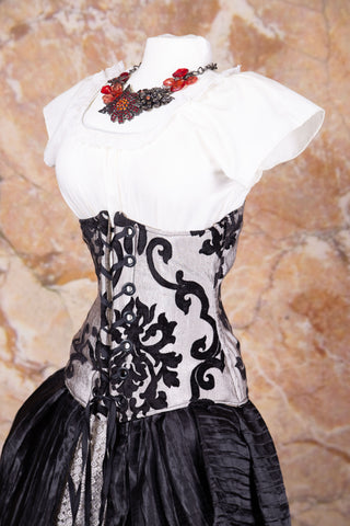 Wench Corset Silver & Black Grace with Black Grommets - NF