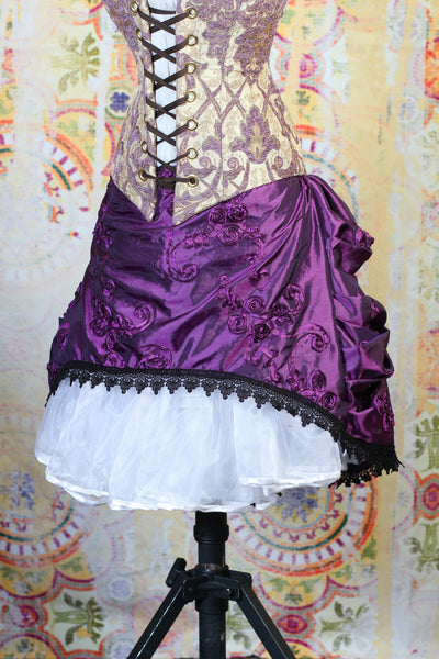 Purple Rose Ribbon Mini Bustle Skirt with Lace