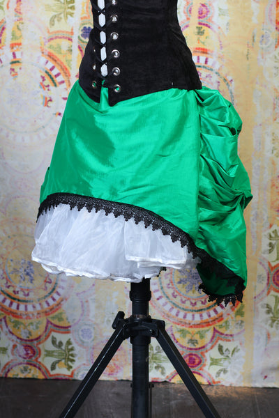 Super Hero Green -Stretch Taffeta- Mini Bustle Skirt with Lace