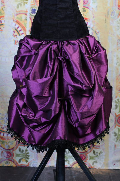 Plum Solid Taffeta Mini Bustle Skirt with Lace