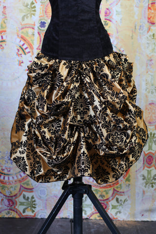 Black and Gold Damask Mini Bustle Skirt
