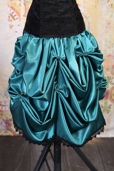 Caribbean Sea Mini Bustle Skirt with Lace