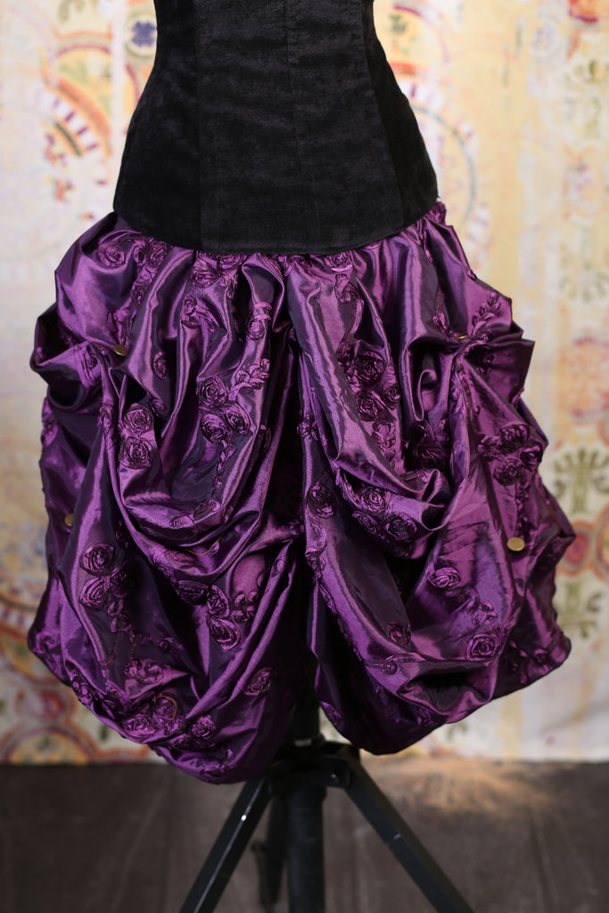 Purple Rose Ribbon Mini Bustle Skirt