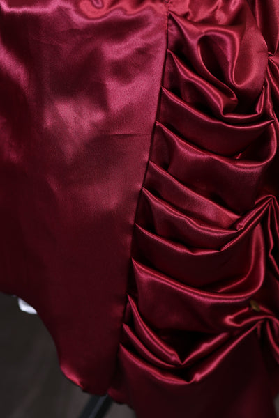 Burgundy -Bridal Satin- Knee Length Bustle Skirt