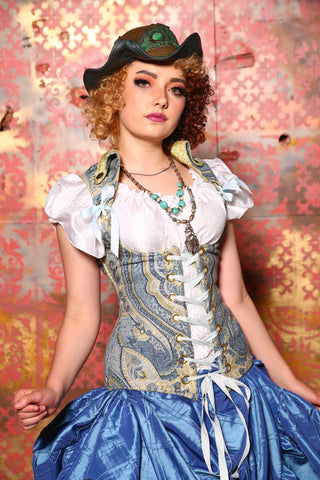 Voyager Corset in Bluebell Paisley