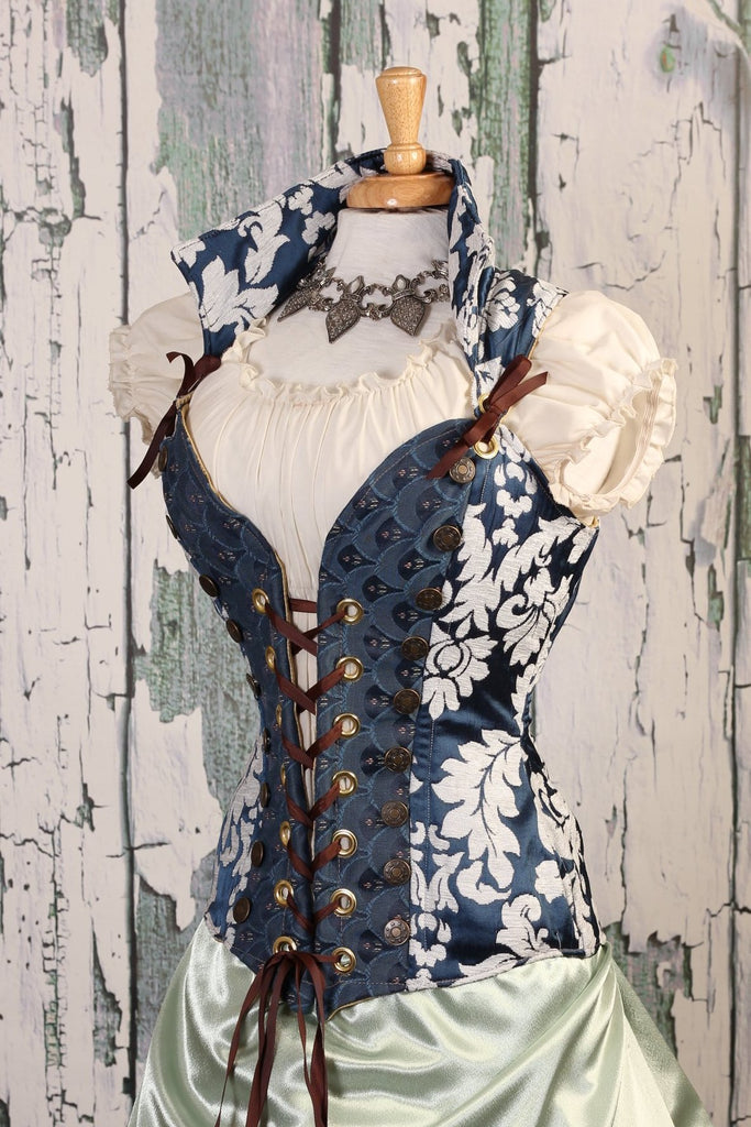 Navy & White Medallion Courtier Corset - RD2