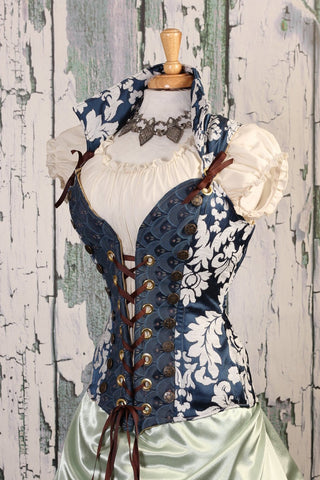 Navy & White Medallion Courtier Corset