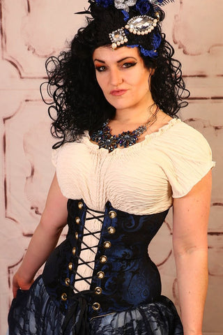 Black & Blue Medallion Wench Corset