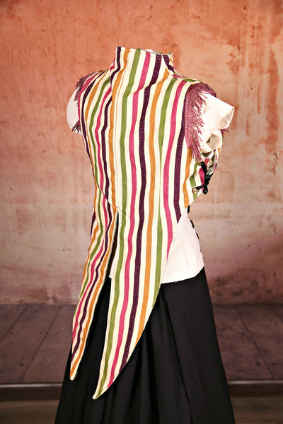 Fruit Stripe Tailed Sgt. Pepper Vest with Pink Trim