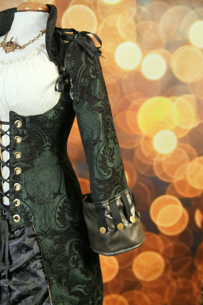 Green and Black Medallion Buccaneer Sleeves