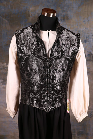 Men's Flynn Vest in Silver and Black Medallion
